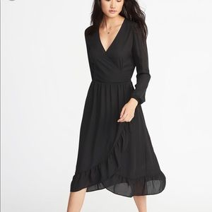 NWT ON Waist-Defined Ruffle-Trim Faux Wrap Dress